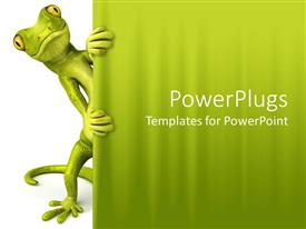 PowerPoint template displaying green lizard peaking through curtain white and green background