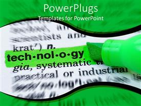 PowerPlugs: PowerPoint template with a green marker marking a text that spells out the word 'Technology'
