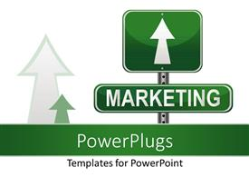 PowerPoint template displaying green marketing sign post with direction over white background