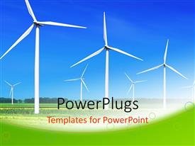 PowerPlugs: PowerPoint template with wind turbines lined up in large field to generate power
