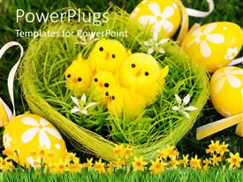 PowerPlugs: PowerPoint template with a green nest with four yellow chicks and Easter eggs