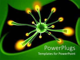 PowerPlugs: PowerPoint template with green neuron cell with yellow tips in a dark background