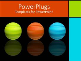 PowerPoint template displaying green, orange, and blue spheres on reflective surface