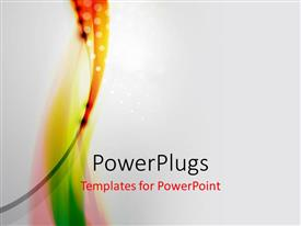PowerPlugs: PowerPoint template with green orange pink vertical waves with white dots on gray background