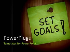 PowerPlugs: PowerPoint template with a green page with the words set goals