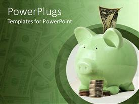 PowerPlugs: PowerPoint template with green piggy bank with money sticking out of it and coins beside it