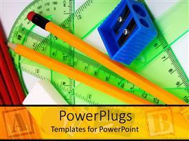 PowerPoint template displaying green protractor, blue pencil sharpener, pencils, eraser
