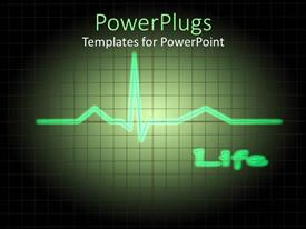 PowerPoint template displaying green pulse close up with Life written in background