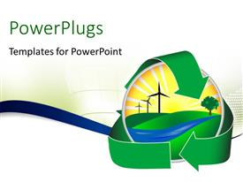 PowerPlugs: PowerPoint template with green recycle symbol around sphere over white background depicting ecology preservation