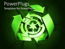 PowerPlugs: PowerPoint template with green recycle symbol, recycling, ecology, sustainable, earth friendly, environment, conservation, green living