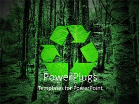 PowerPlugs: PowerPoint template with green recycling symbol and forest