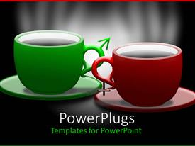 Design with green and red coffee mugs with saucer on black background