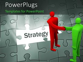 PowerPoint template displaying green and red colored man shake hands on puzzle with missing strategy piece