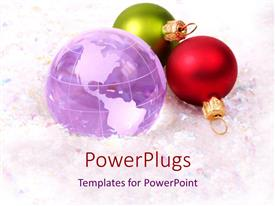 PowerPlugs: PowerPoint template with green and red sparkling ornaments with globe on white background with colored dots