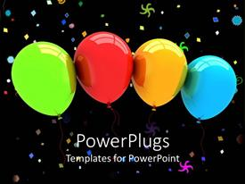 PowerPlugs: PowerPoint template with green, red, yellow and blue balloons and party colorful symbols on black background
