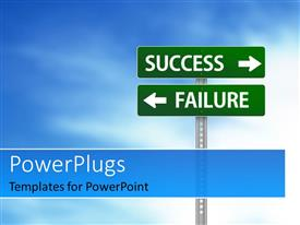 PowerPlugs: PowerPoint template with green road sign with directions to SUCCESS and FAILURE over cloudy sky