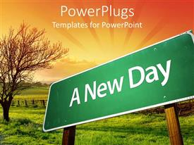 PowerPlugs: PowerPoint template with green road sign post with a new day text