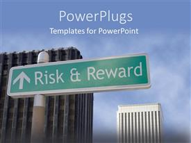 PowerPlugs: PowerPoint template with green road sign reads 'Risk and Reward' with tall buildings