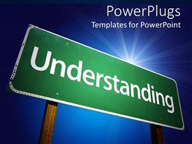 PowerPlugs: PowerPoint template with green road sign reads 'understanding' on blue background