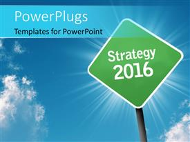 PowerPoint template displaying green road sign showing Strategy 2016 and sky in the background