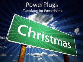 PowerPlugs: PowerPoint template with a green sign board with a text that spells out 'Christmas '