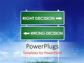 PowerPoint template displaying green signpost with directions showing wrong and right decision