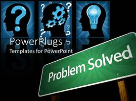 PowerPlugs: PowerPoint template with green signpost reads problem solved with three inquisitive human head