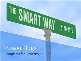 PowerPlugs: PowerPoint template with green signpost with the smart way words and numbers on blue sky background