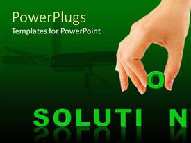 PowerPlugs: PowerPoint template with green solution text with a human hand holding up a letter