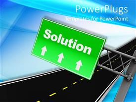PowerPlugs: PowerPoint template with green street sign with arrows indicating road to Solution on blue background