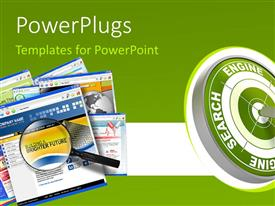 PowerPlugs: PowerPoint template with a green and white target with some text and a magnifying glass