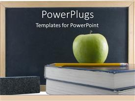 PowerPlugs: PowerPoint template with green teachers apple on textbook with chalkboard and pencil education school