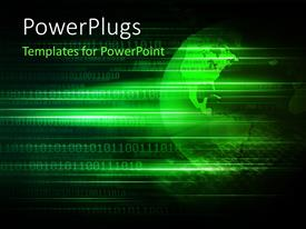 PowerPlugs: PowerPoint template with green tech globe over a digital binary background