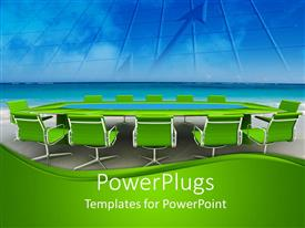 PowerPoint template displaying green themed conference table with financial chart on screen
