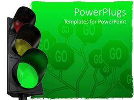 PowerPlugs: PowerPoint template with green traffic light in front of Go background