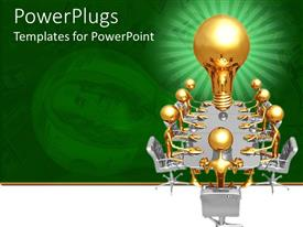 PowerPlugs: PowerPoint template with green and white background with men sitting round table and light bulb