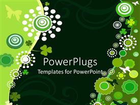 PowerPlugs: PowerPoint template with green and white butterflies, flowers, clover leaves and swirled lines with black and green background