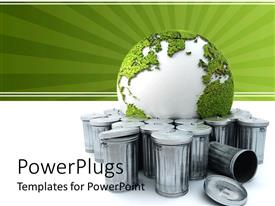 PowerPoint template displaying green and white earth globe between aluminium trash cans
