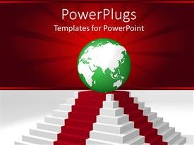 PowerPlugs: PowerPoint template with green and white earth on a red and white high pedestal