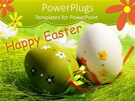 PowerPlugs: PowerPoint template with green and white Easter eggs with painted flowers on grass