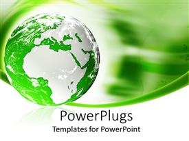 PowerPlugs: PowerPoint template with green and white globe with data cable