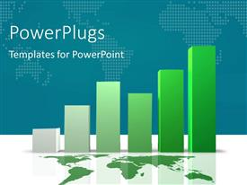 PowerPlugs: PowerPoint template with green world map and bar charts on white reflective surface