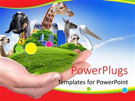 PowerPlugs: PowerPoint template with hand holds green vegetation and animals depicting wildlife preservation