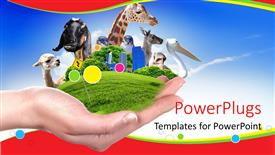 PowerPoint template displaying hand holds green vegetation and animals depicting wildlife preservation