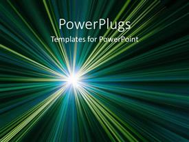 PowerPlugs: PowerPoint template with green and yellow abstract as a metaphor for a shining star from galaxy on a black background
