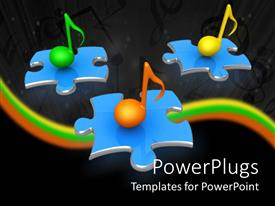 PowerPoint template displaying green, yellow and orange 3D music notes on blue jigsaw puzzle pieces with yellow, green and orange waves on musical notes black background