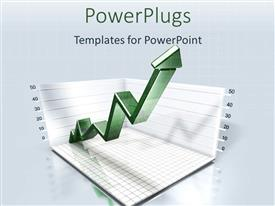 PowerPlugs: PowerPoint template with a green zigzag arrow on a two sided graph