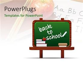 PowerPlugs: PowerPoint template with a greenboard with an apple in the background