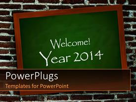 PowerPoint template displaying a greenboard with the words of welcoming new year