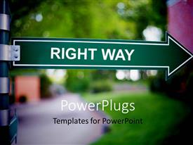 PowerPlugs: PowerPoint template with a greenish arrow and a road behind it in a blurred version